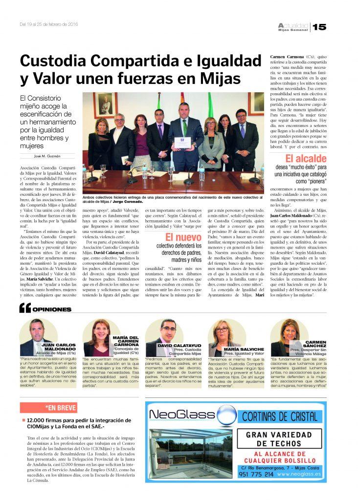 Custodia Compartida e Igualdad y Valor unen fuerzas en Mijas